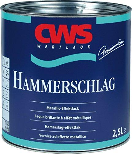 CWS WERTLACK Hammerschlag-Lack Metallic Effektlack Glänzend 2,5 L Farbwahl, Farbe:Aluminium