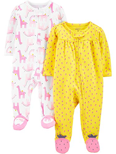 Simple Joys by Carter's 2-Pack Cotton Footed Sleep Play Infant-and-Toddler-Bodysuit-Footies, Llamas Rosas/Fresas, 3-6 Meses, Pack de 2