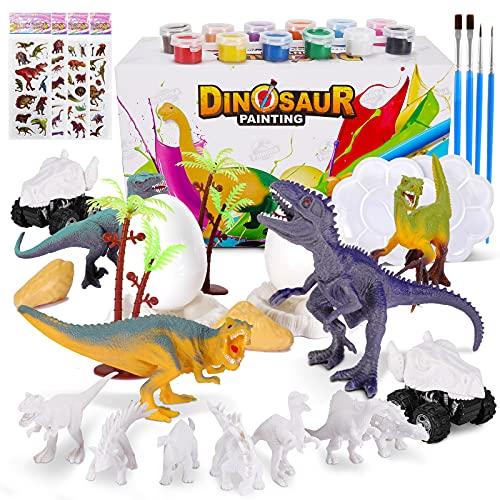 Kit Pintura Dinosaurios, 45 Piezas Juguetes Dinosaurios Figuras para Pintar, Juegos Manualidades Kit Pintura para Niños, Regalos de Cumpleaños Navidad para 5-12 Años