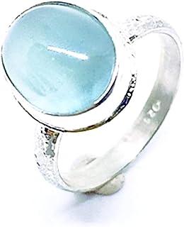 Prezioso anello con preziosa acquamarina di dimensioni cabochon (12 mm x 8 mm). Anello in argento sterling. Anello con Acq...