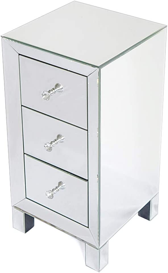 Contemporary Mirrored 3-Drawers 至高 Nightstand Accent Mirror 新入荷 流行 Silver