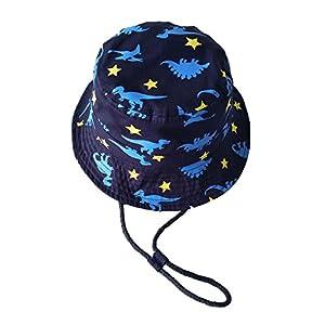 (よキーよ)Yokeeyo ベビー用ハット つば広 赤ちゃん キャップ サファリハット キッズ 帽子 子供サンバイザー フィッシャーマンハット 紐付き 動物柄 男の子 紫外線 UVカット 日よけ 日焼け止め