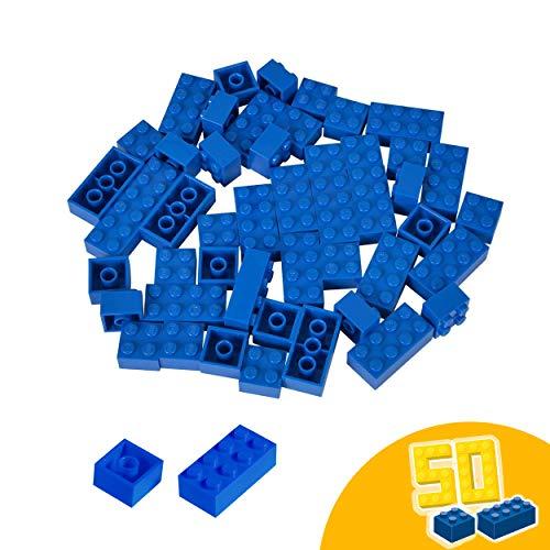 Simba 104114124 Steine-104114124 Blox, 50 blaue Bausteine Made in Italy, 16x 8er und 34x 4er Steine, höchste Qualität und 100 Prozent kompatibel mit bekannten Spielsteinen