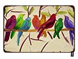HOSNYE Parrot Tin Sign Watercolor Parakeet Bird Flock Together on The Tree Vintage Metal Tin Signs for Men Women Wall Art Decor for Home Bars Clubs Cafes 8x12 Inch