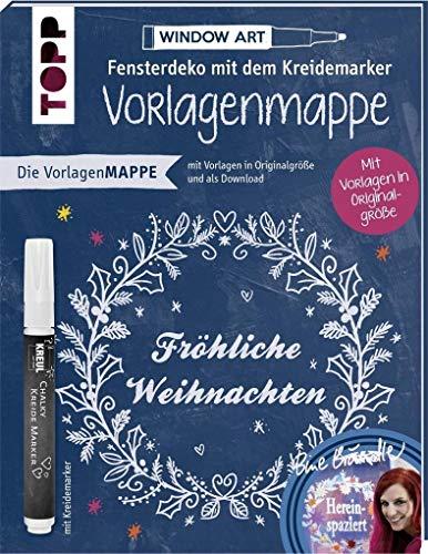 Vorlagenmappe Fensterdeko mit dem Kreidemarker – Fröhliche Weihnachten von Bine Brändle: Vorlagenbögen mit Motiven in Originalgröße