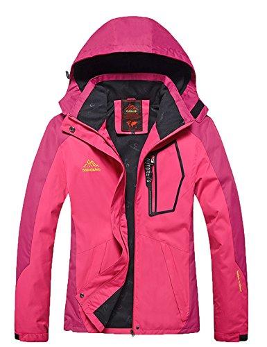 Tyraptor Damen Funktionsjacke Wasserdicht/Winddicht/Atmungsaktiv Outdoor Jacke mit abnehmbrer Kapuze Wanderjacke Rosa