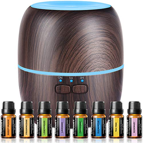 URPOWER Essential Oil Diffuser 230ml Aromatherapy Essential Oil Diffuser Humidifier, 7 Color LED Lights and Waterless Auto Shut-off-Wood Grain for Home Yoga