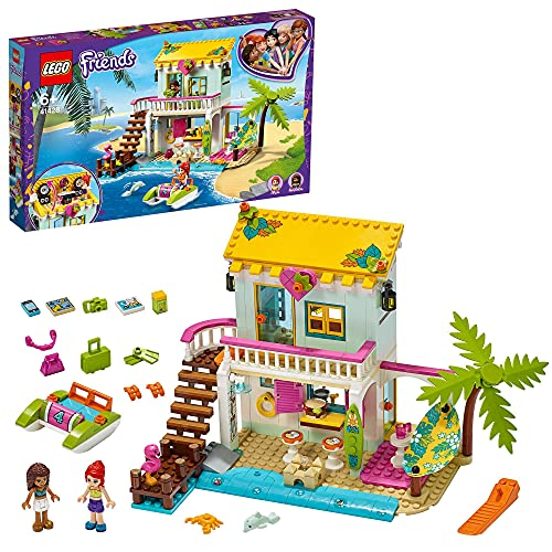 LEGO 41428 Friends Casa en la Playa Juguete de Construcción para Niños y Niñas de +6 años Casa de Muñecas con Mini Muñecas