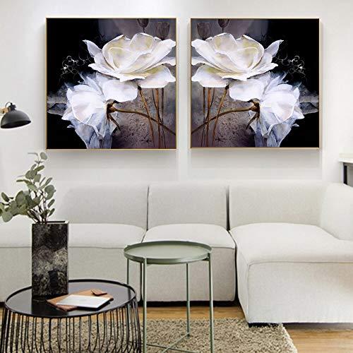 tzxdbh grote witte bloemen canvasafbeeldingen op de muur poster en afdrukken Pop Art Canvas decoratieve wandafbeeldingen wooncultuur 40x40cm no frame 3