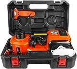 BELEY Cric hydraulique électrique 12 V 5 tonnes, kit 3 en 1, gonfleur de pneu, lumière LED, outils de levage pour réparation d'urgence routière