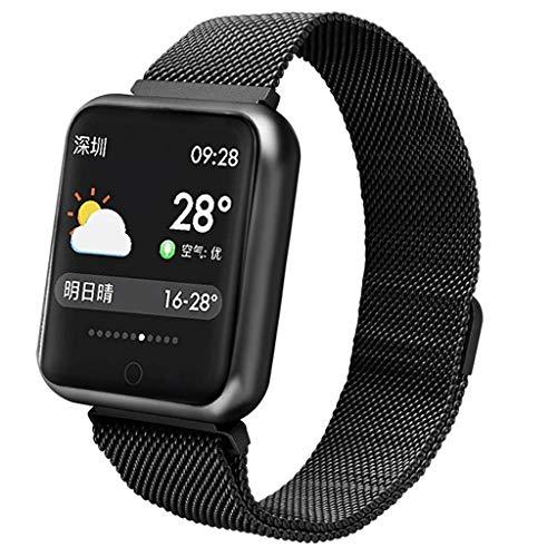Fitness Tracker Smart-armband met hartslagfrequentie en bloeddruk, waterdicht, voor dames en heren, smartwatch voor Android en iOS 1,3 inch (1,3 cm), roze/zilver/zwart