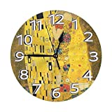 おしゃれな グスタフ・クリムト・ザ・キス 壁掛け時計 サイレント デザイン時計 モダン 壁飾り 電池式 子供部屋 勉強部屋 玄関