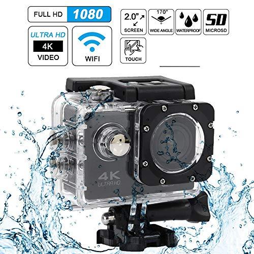 Mugast 16M Actiecamera, HD 4K WiFi 30 m waterdicht 140 ° groothoek 1080p @ 30FPS digitale sportvideocamera met 2 inch LCD-scherm voor skiën, zwemmen, paardrijden