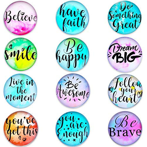 12 Pieces Motivational Glass Fridge Magnets Inspirational Quote Refrigerator Magnets for Classroom Whiteboard Locker Fridge Supplies