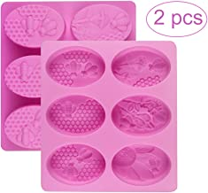 Palksky (2 Pack) 6 Cavities 3D Bee Silicone Molds/Honeycomb Soap Mold/Beehive Cake Baking Mold for Homemade Craft Candle Resin Bath Bomb