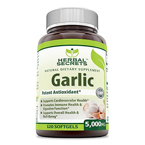 Herbal Secrets Garlic 5000 Mg 120 Softgels (Non-GMO)- Potent Antioxidant*- Supports Cardiovascular Health, Immune and Digestive Function, Supports Overall Health and Well Being*