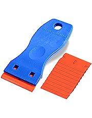 Ehdis® Plastskrapa 3,5 cm mini rakkniv plast dubbelkantad bladskrapa med 10 st rakblad i plast för skrapning av etiketter och dekaler från glas, vindrutor