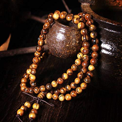 MLJSX Armband Blume aus Mahagoni Perlen Armband Hand Rosenkranz Männer und Frauen 108