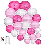 Treer Lanternes de Papier Colorées, 24pcs Décorations Chinoises en Papier Suspendu pour Lanternes à Boule Lampes Fête de Noël Décoration de Mariage (Rose)