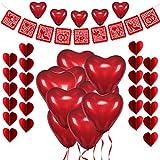HOWAF Set de Deco para el Día de San Valentín, Globos Corazon Rojo, Bandera de Amor, Guirnalda de Corazón 3D Rojo para Bodas Nupcial Compromiso y Aniversario Decoración Día de La Madre