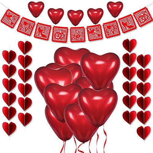 HOWAF Kit di Decorazioni per San Valentino, Lattice Palloncini a Forma di Cuore, Rossi 3D Cuori da Appendere Bandierine ghirlande per Decorazioni Anniversario Matrimoni Fidanzamento San Valentino