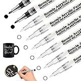 Bolígrafos de pintura acrílica blanca y negra para roca, madera, tela, vidrio, lienzo, punta extra fina de (6 blanco 2 negro)