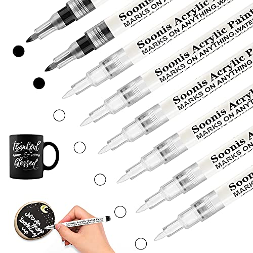 Stylos de peinture acrylique noir et blanc pour roche, bois, tissu, verre, toile, 8Pack (6 blancs 2 noirs) 0.7 mm extra-fine dessin artisanal stylos marqueurs permanents pour les enfants