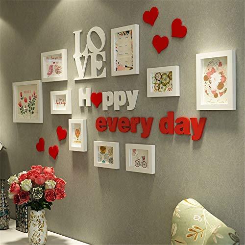 Kreative Familienfoto-Wand-rote Liebes-Collagen-Bilderrahmen für Wand-Weiß Moderne Einfachheit-Multi Bilderrahmen-Sätze für Eigenschafts-Wand-Massivholz-Front-HD-Glas-Abdeckungen 1,55m X 0,74m