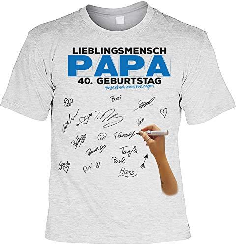 Vater T-Shirt inkl. Permanent Marker Lieblingsmensch Papa 40. Geburtstag Gästebuch zum eintragen...
