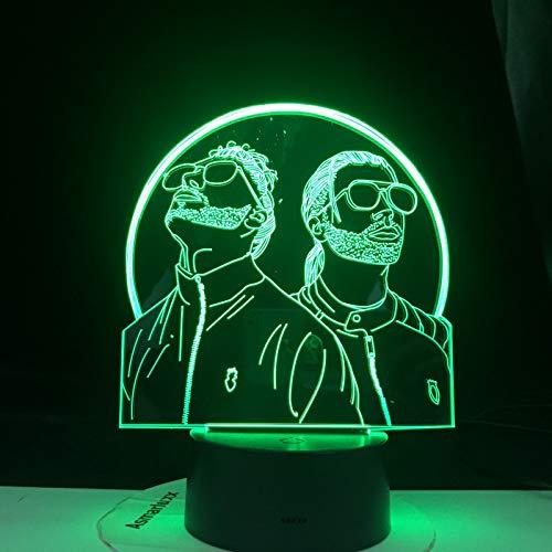 French Rap Group PNL 3D luz de Noche LED Que Cambia de Color lámpara de Noche iluminación de Dormitorio para fanáticos Regalos Sorpresa(7 Color no Remote)