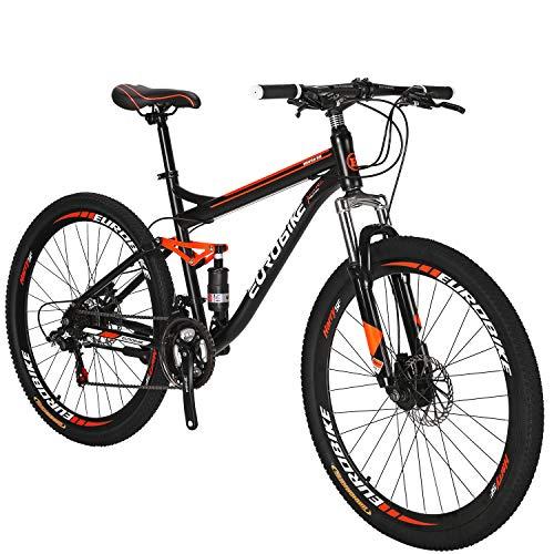 Full Suspension Mountain Bike 21 Speed Bicycle 27.5 inches Mens MTB Disc Brakes Orange (Aluminum-Alloy Rims)