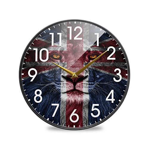León, Bandera británica del Reino Unido, Londres, Inglaterra, Reloj de Pared Redondo, Funciona con Pilas, sin tictac, silencioso, Cuarzo para el hogar, Sala de Estar, Oficina, Cocina, Dormitorio