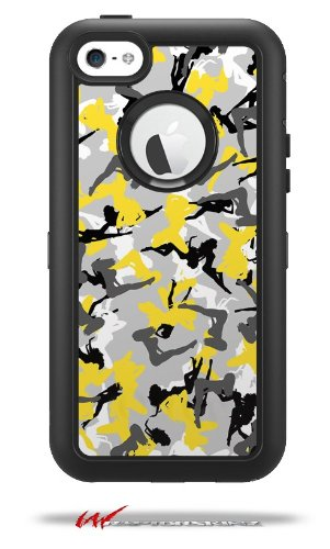 Sexy Girl Silhouette Camo Yellow - Decal Style Vinyl Skin fits Otterbox Defender iPhone 5C Case (CASE Sold Separately)