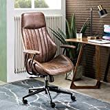 ovios Modern Computer Desk Chair, High Back Suede Leather Office Chair with Lumbar Support for Executive or Home Office, Ergonomic Office Chair (Dark Coffee)