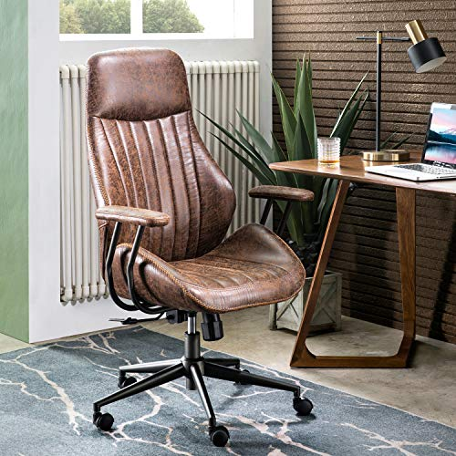 ovios Ergonomic Office Chair,Modern Computer Desk Chair,high Back Suede Fabric Desk Chair with Lumbar Support for Executive or Home Office (Dark Coffee)