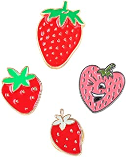 Dedila 10PCS Women Girls Cute Cartoon Strawberry Pin Set Sweet Fruit Brooch Pins Badges for Clothes Bags Backpacks- Mixed Four Styles (Strawberry Pin)