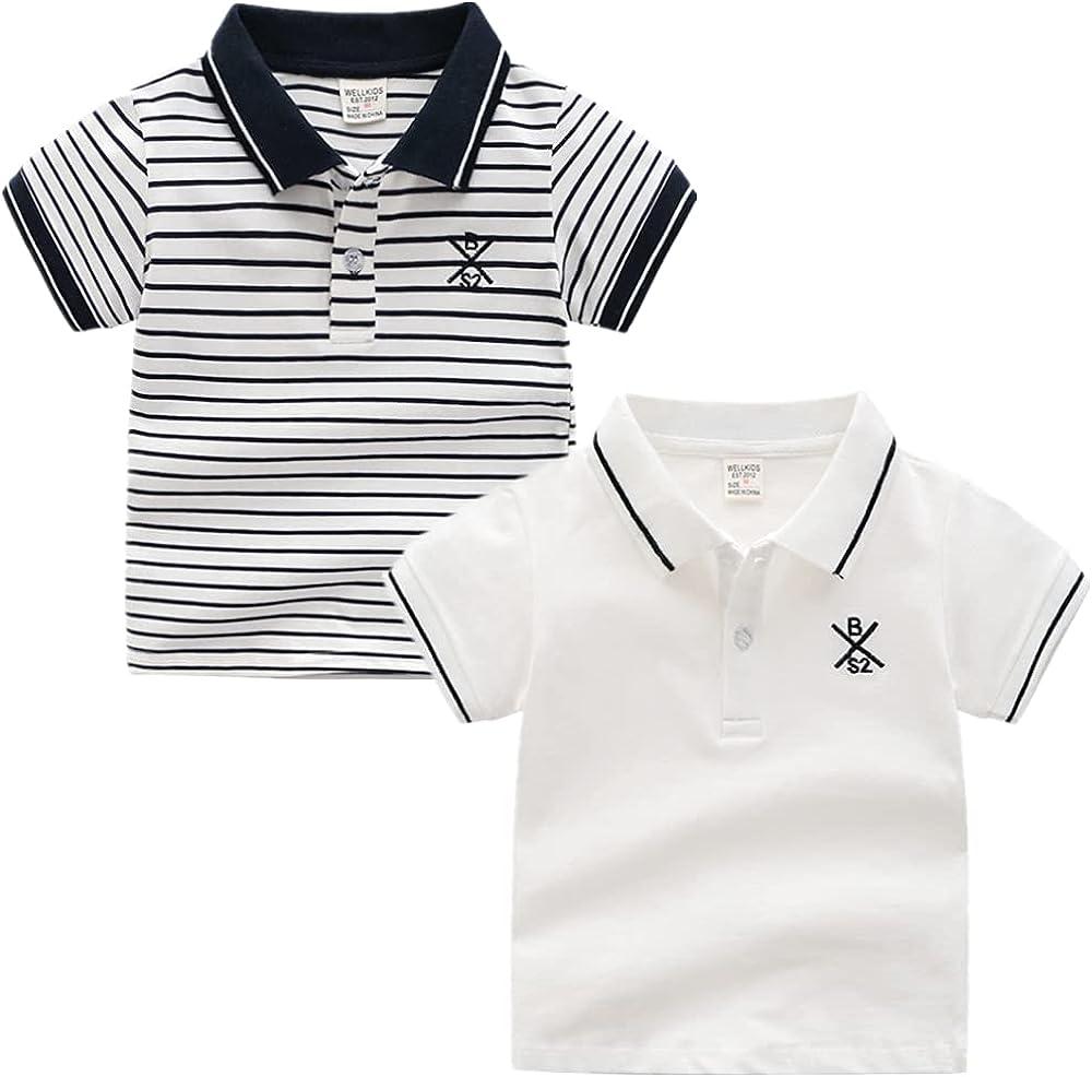 CesAnnees Kids Toddler Boys T-Shirts Cotton White Short Sleeve Classic Uniform Polo Shirt