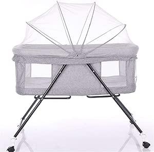 ZZHK Multi-Function Baby Cradle Crib Sleeping Basket  Collapsible Portable Basket  Carbon Steel Bracket Can Semi-Recumbent FourseasonsGray