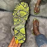 FASZFSAF Sandalias Planas para Mujer, Sandalias Brillantes de CuñA Baja, Zapatillas Planas Transparentes con Diamantes de ImitacióN,Verde,41