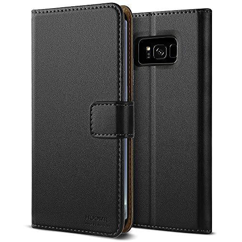 HOOMIL Handyhülle für Samsung Galaxy S8 Hülle Leder Tasche Flip Case Schutzhülle Kompatibel mit Samsung S8 Hülle Schwarz