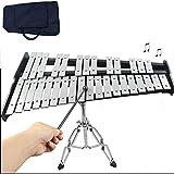 YUSDP 32 Notas Xilófono Profesional Glockenspiel con Marco Ajustable galvanizado y Bolsa de Transporte: Calidad de Sonido Clara, Principiantes