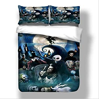 StarFashion Christmas Duvet Cover Set(no Comforter),Scarecrow Style Nightmare Before Christmas 3pc Bedding Set, Duvet Cover with Pillowcase Gift 3D Terrorist Design (Twin)
