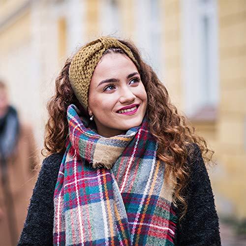 DRESHOW Knitted Hairband Crochet Turban Headband for Women Girls Warm Bulky Crocheted Headwrap