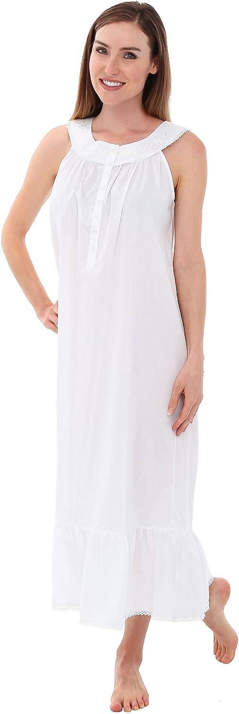Alexander Del Rossa Womens Caroline Cotton Nightgown, Scoop Neck Victorian Sleepwear