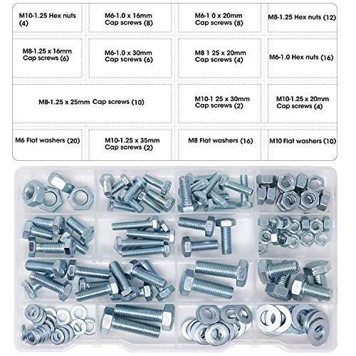 T.K.Excellent Sechskantschrauben M6, M8, M10 und Sechskantmuttern und Unterlegscheiben, Set mit 128 Stück