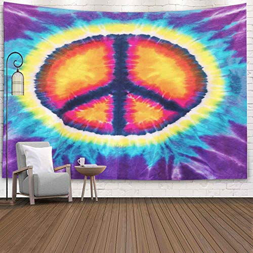 Gesmatic Christmas Wall Tapestry, Merry Christmas Tapestry Abstract Peace Sign Design Tie Dye Christmas Scenery Tapestry 80X60 Inch