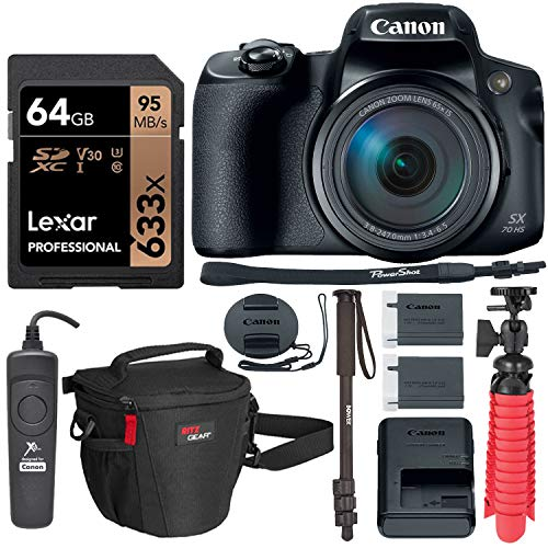 Canon PowerShot SX70 HS 4K Camera with Video-Ready Lexar U3 Memory Card, Monopod, Tripod, Camera Case and Accessory Bundle