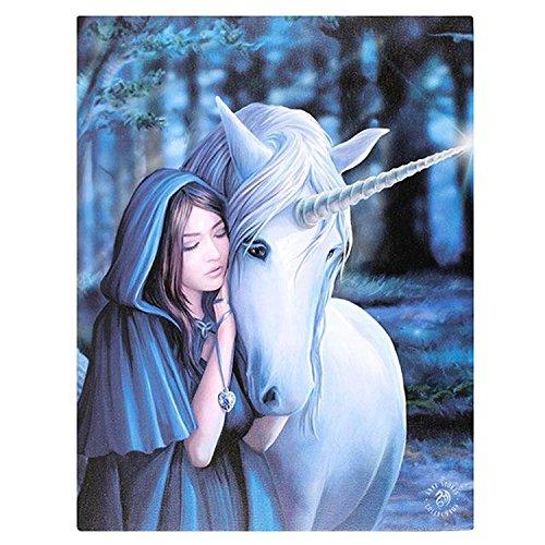 Aperçu d/'une licorne Anne Stokes toile Plaque Murale 19 cm x 25 cm