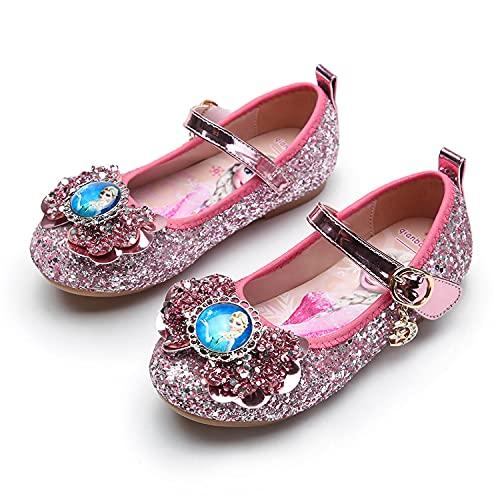 Eleasica Zapatos de Vestir de Moda para Bailar, Caminar, Correr, Disfraces de Princesa a Juego, Zapatillas Brillantes, Cierre de cardillo fcil de abrochar, Merceditas Planas para nias 3-12 aos