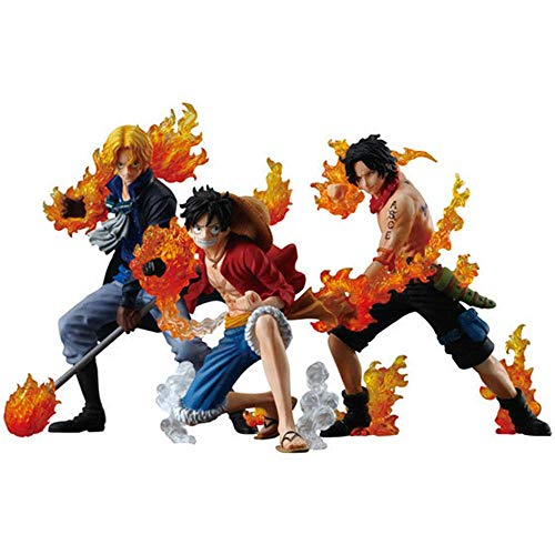 ワンピースASL Portgas.D。エースサボモンキー・D・ルフィアニメ図13センチメートル-火拳の3兄弟、置物装飾オーナメントグッズ玩具アニメーションキャラクターモデル、カラー:ASL GFLNB (Color : Asl)